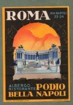 Collectable Hotel luggage label  ITALY ROMA via Napoli  #288
